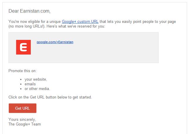 Google+ Custom URL Email