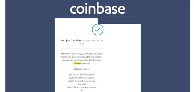 Coinbase CryptoWord Payout