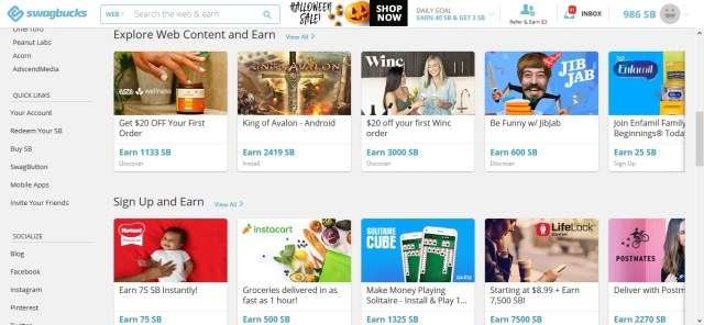 Swagbucks offer page