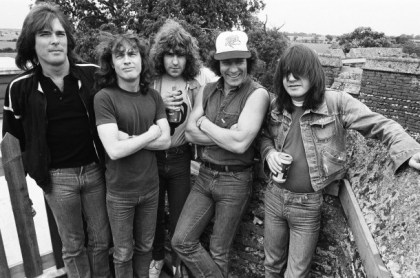 Sipping tea with AC/DC's Malcolm Young and Brian Johnson before the launch of the Flick of the Switch world tour