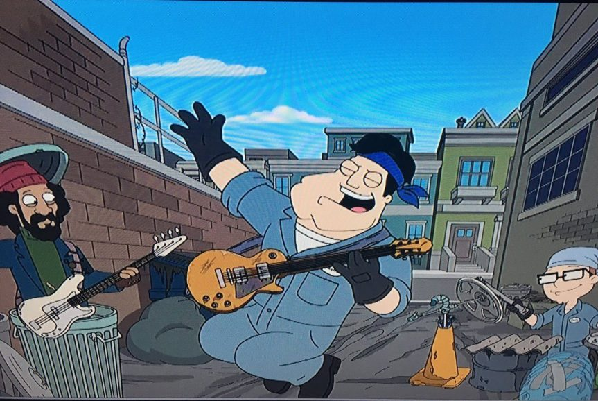"Thin Lizzy's ""The Boys Are Back in Town"" gets montage treatment in American Dad–complete with Phil Lynott!"