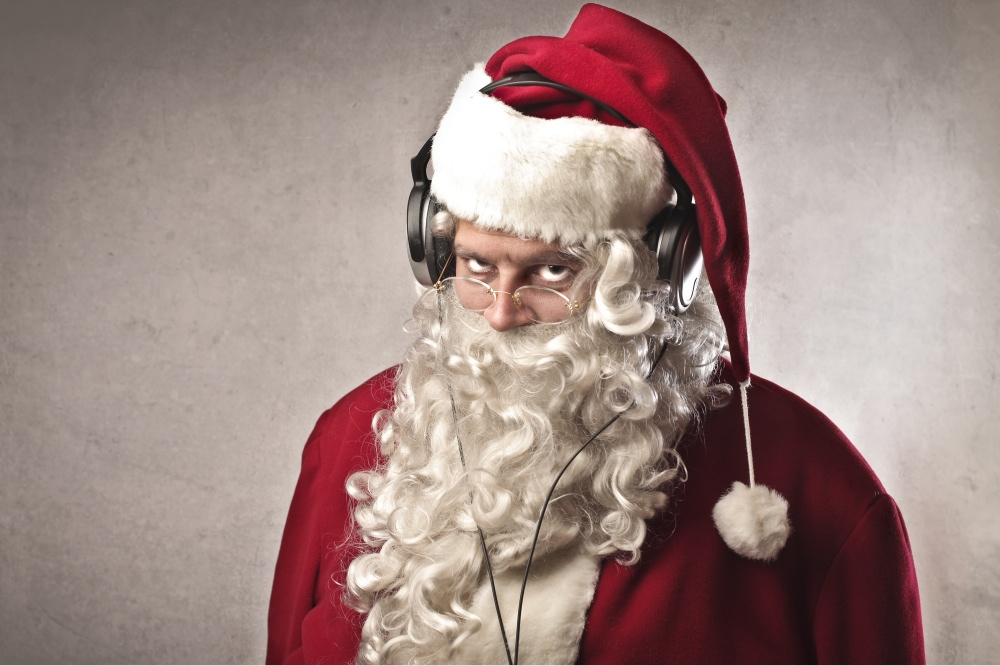 Santa wearing headphones. Naturally.