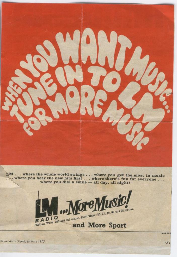 LM Radio 1973 print ad from Readers Digest. Source: lmradio.org
