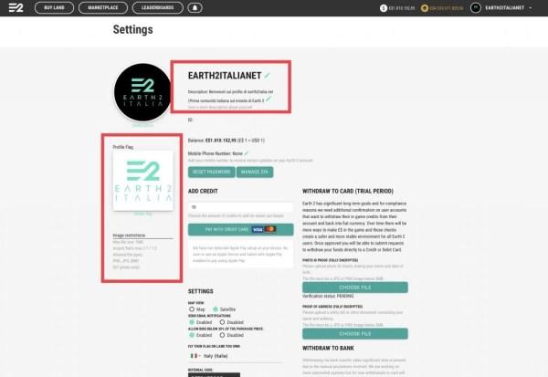 Impostazioni del Profilo personalizzabile su earth 2 - earth2italia.net