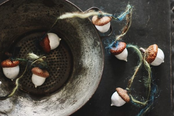 Painted acorn garland