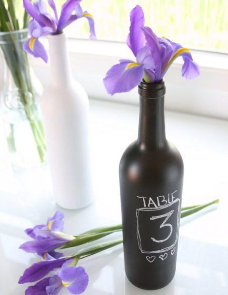 repurposed wine bottle table numbers