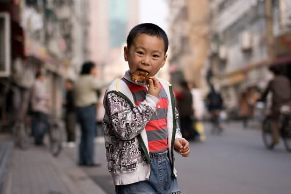 boy eating outside