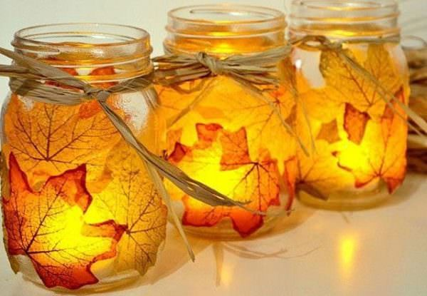 DIY leaf candle holders