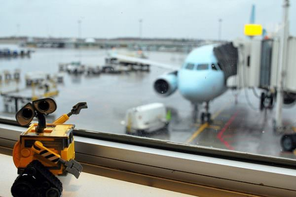 Wall-e toy overlooking airport