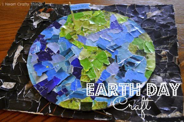 Earth Day globe mosiac craft