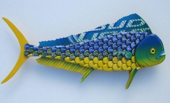 Mahi Mahi Fish Art Bottlecap Metal Wall Dolphin Fish by Eric's Easel