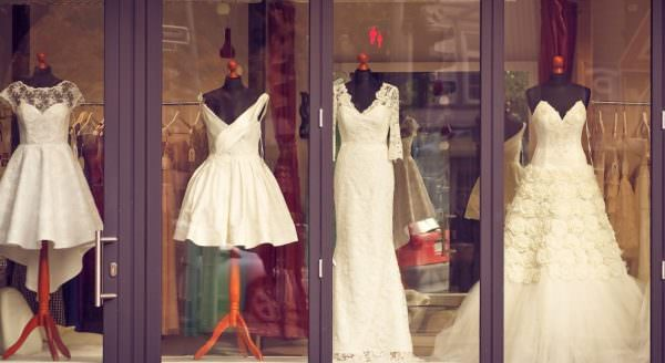 bridal shop window display