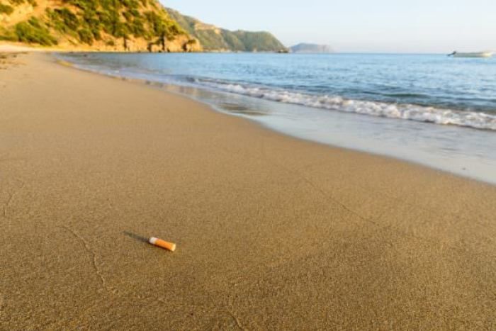 Cigarette bud thrown away at a clean sandy beach shore
