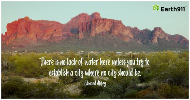 """There is no lack of water here unless you try to establish a city where no city should be."" --Edward Abbey"