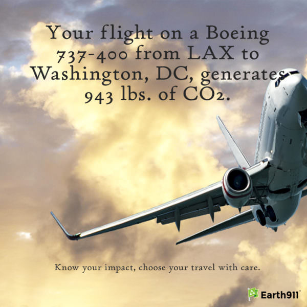 kKow your flightprint: Flying on a Boeing 737-400 from LAX to Washington generates 943 lbs. of CO2.