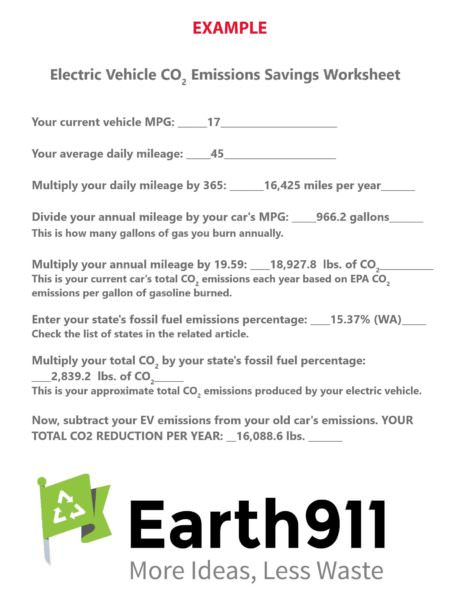Sample EV Emissions Worksheet