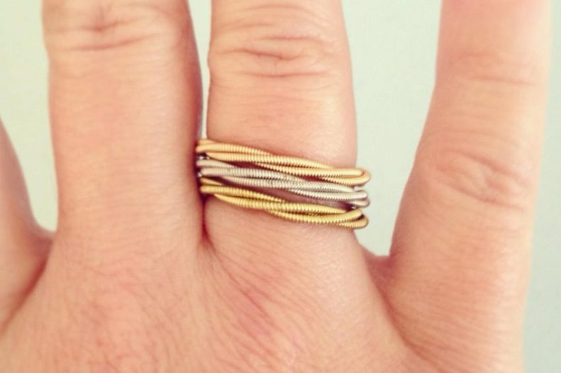 Ring made from old guitar strings