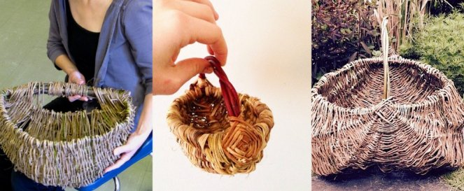 left: Rebecca Graham Bike Basket, centre: Chloe Hight small forage basket, right: Helen Shim large forage basket