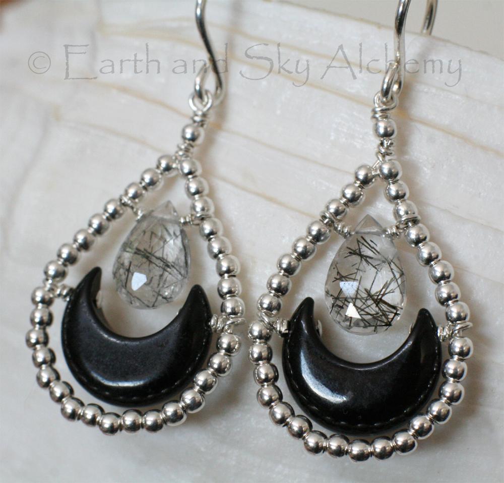 Black Onyx moon rutile quartz briolette earrings