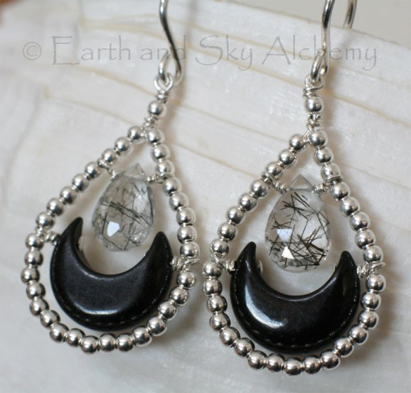 Black Onyx moon rutile quartz briolette earrings