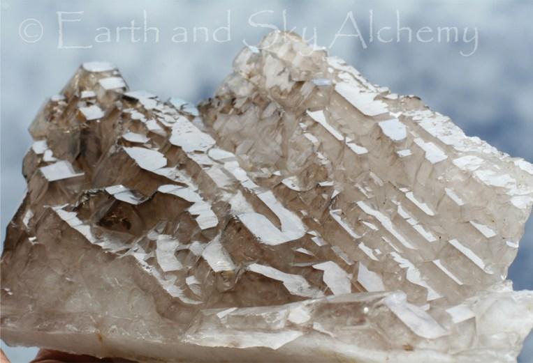Elestial smoky quartz crystal cluster
