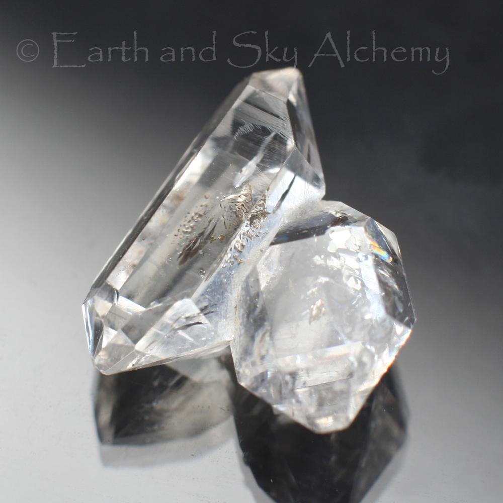 Herkimer diamond twin quartz crystal