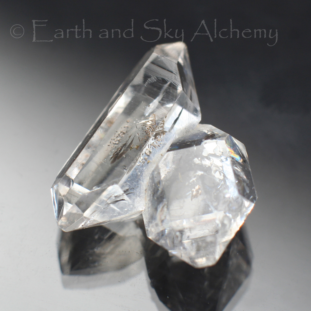 Herkimer diamond twin quartz crystal