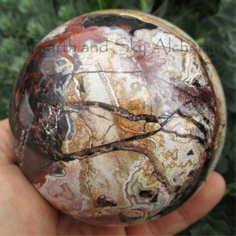 Huge crazy lace agate sphere