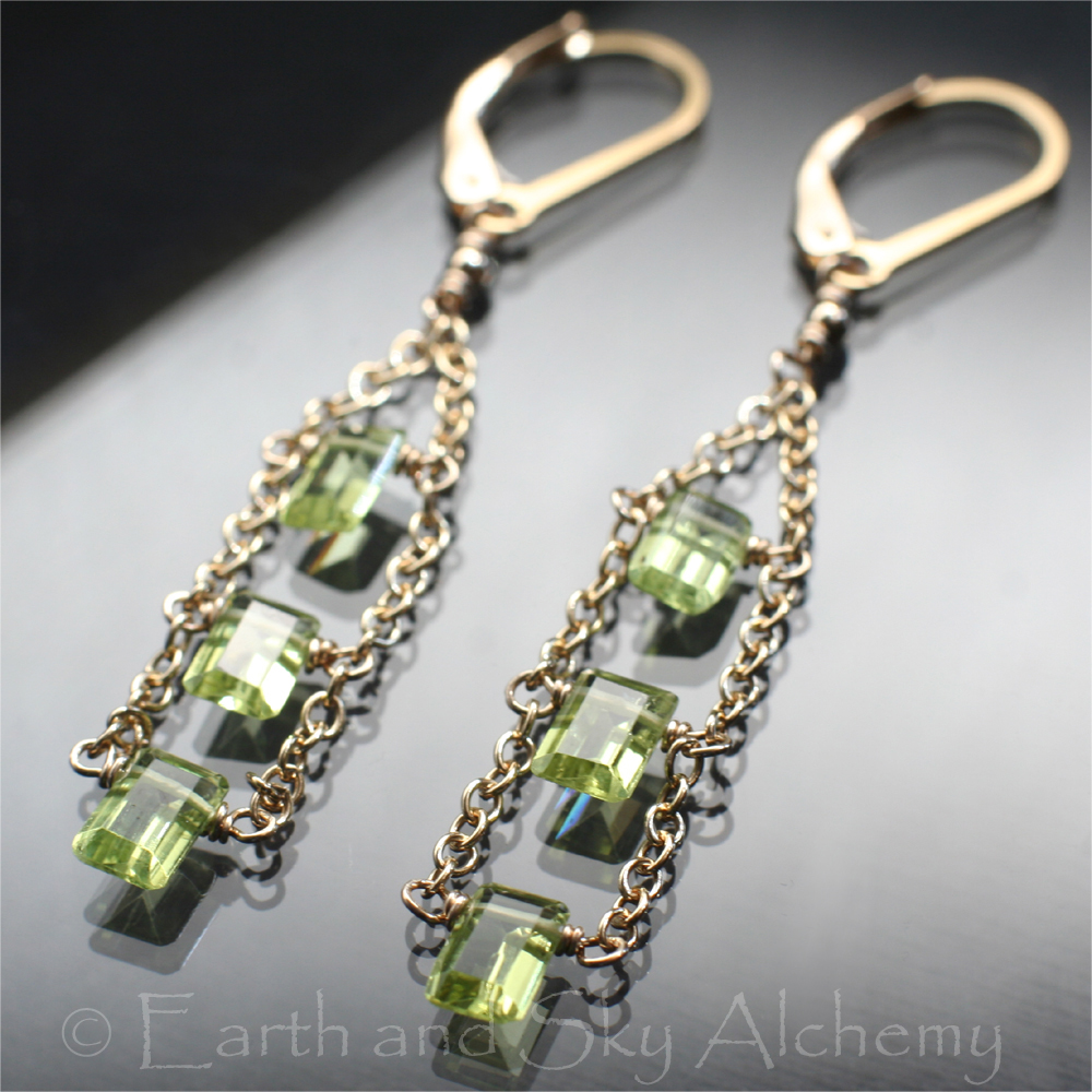 Peridot baguette earrings