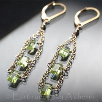 Peridot baguette earrings