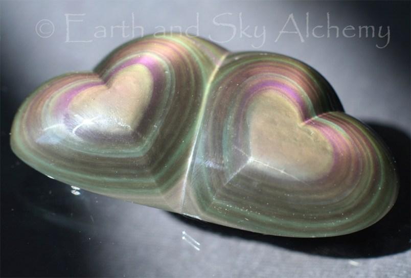 Rainbow obsidian hearts double