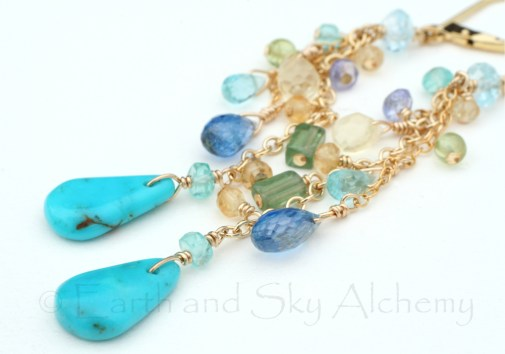 Turquoise drop gemstone earrings