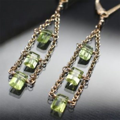 long peridot drop earrings