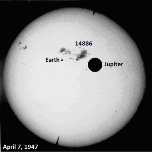 Largest film-recorded sunspot group on the solar surface, April 7, 1947