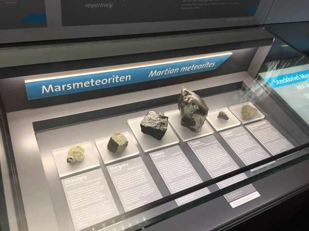 A variety of martian meteorites.