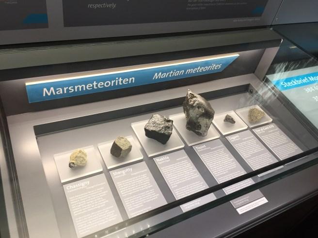A variety of martian meteorites.