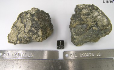 Lunar meteorites 090070 and 090075, both found in Antarctica. Image courtesy of NASA JSC Curatorial Facility.