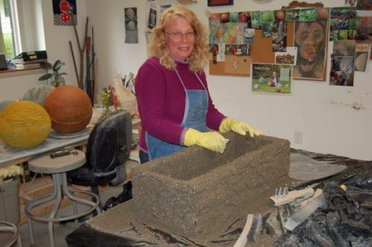 Pam finishing hypertufa trough for herbs