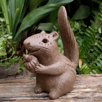 clay-chimpunk-holding-acorn-tail-up-400px-outdoor-statue-by-margaret-hudson-earth-arts-studio-8