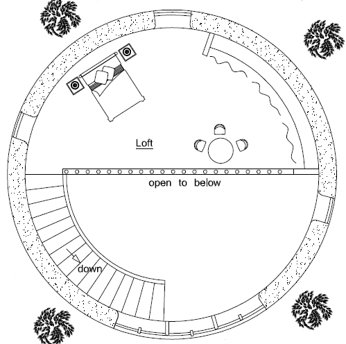 2-Story Earthbag Roundhouse Plan