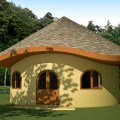 Hobbit house with wood shingles click to enlarge