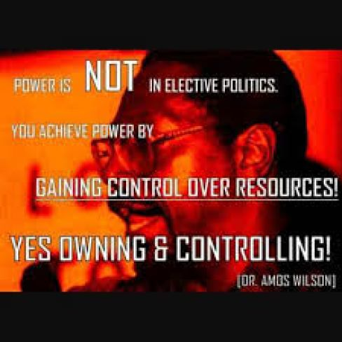 """Power is NOT in elective politics. You achieve power by 'gaining control over resources!' Yes owning and controlling!"""" Dr. Amos Wilson"""