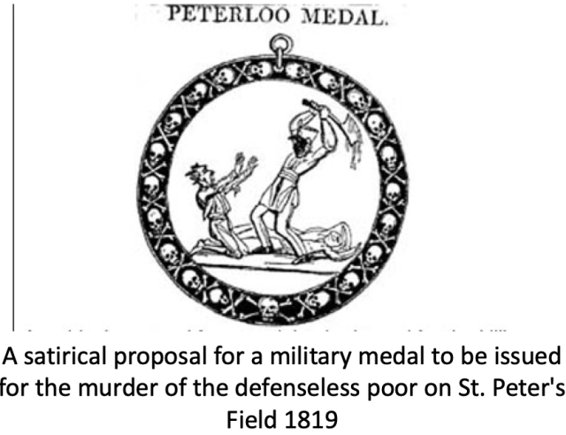 Peterloo Medal.  A satirical proposal for a military medal to be issued for the murder of the defenseless poor on St. Peter's field 1819