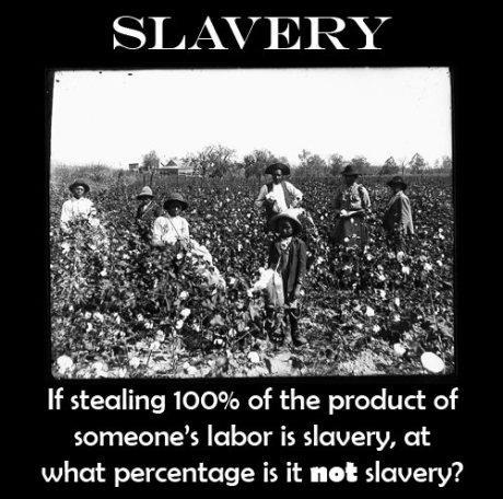 SLAVERY  If stealing 100% of the product of someones labor is slavery, at what percentage is it 'not' slavery?