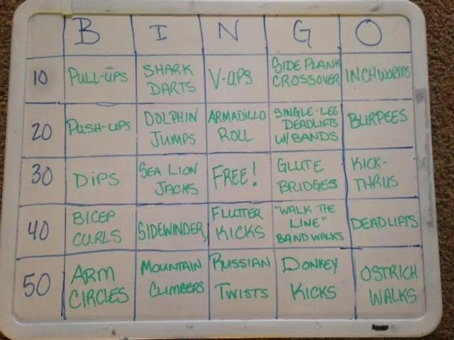 BINGO bootcamp board