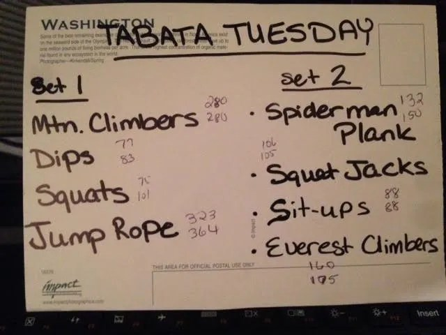 Utilizing Available Resources to Plan Workouts: tabata tuesday