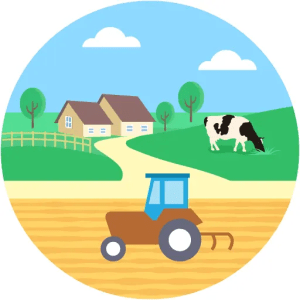 Agriculture Farm Tractor Cow Landscape