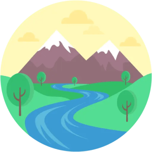 Flowing River Mountains Sparse Trees Landscape
