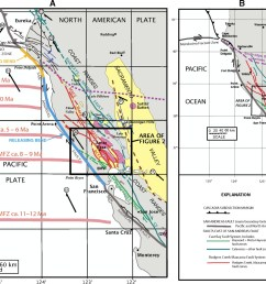 maps showing the regional setting of the rodgers creek maacama fault system and the san andreas fault in northern california a the maacama mafz and  [ 1280 x 1026 Pixel ]