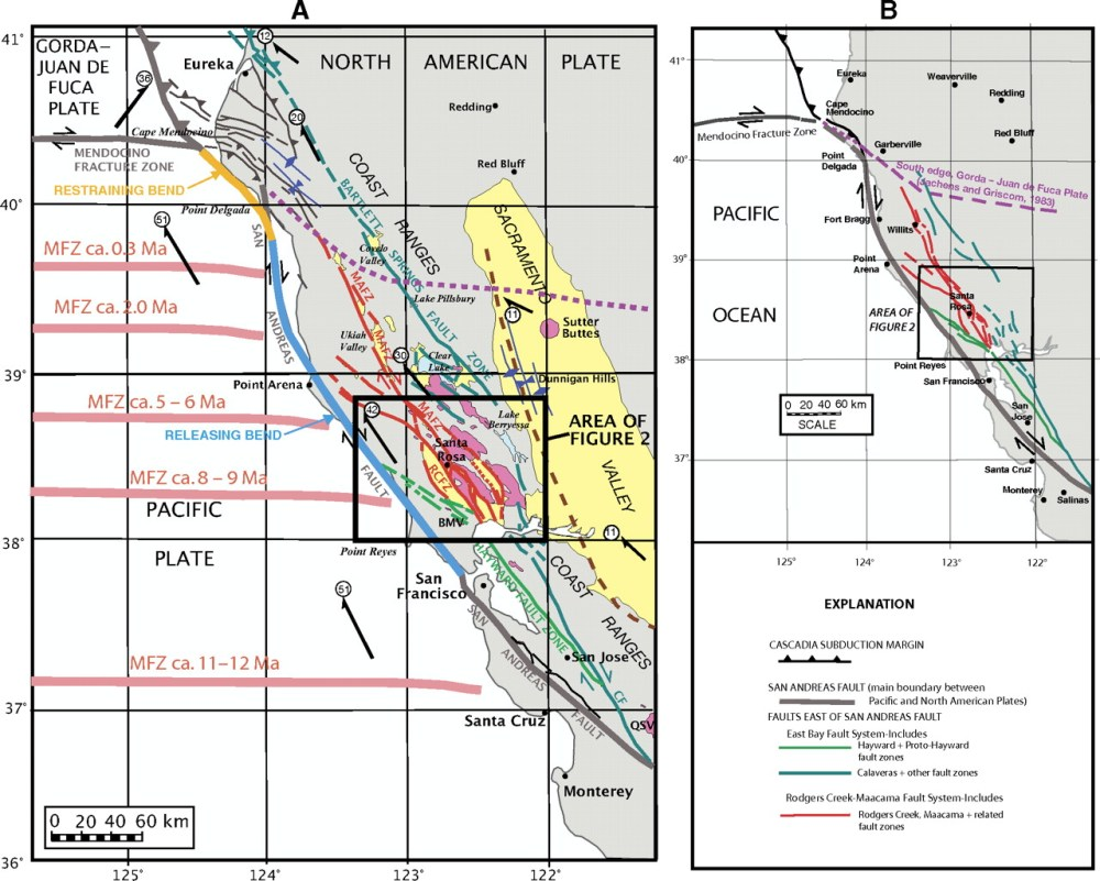 medium resolution of maps showing the regional setting of the rodgers creek maacama fault system and the san andreas fault in northern california a the maacama mafz and